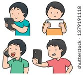 vector set of people using... | Shutterstock .eps vector #1379191118