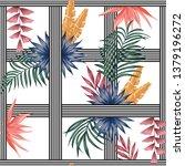 tropical plants on the stripe... | Shutterstock .eps vector #1379196272