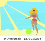 woman with ball on the beach.... | Shutterstock .eps vector #1379226095