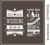 wedding stamps brown | Shutterstock . vector #137925416