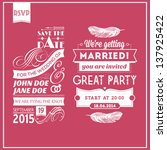 wedding stamps pink | Shutterstock .eps vector #137925422
