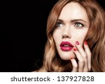 beautiful young model with red... | Shutterstock . vector #137927828