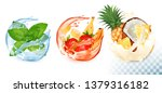 set of mint and fruit in a... | Shutterstock .eps vector #1379316182