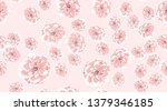 pink roses  watercolor floral...   Shutterstock .eps vector #1379346185