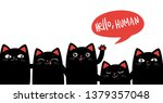 black cats on white background. ... | Shutterstock .eps vector #1379357048