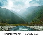 gray blue mountain ranges in... | Shutterstock . vector #137937962