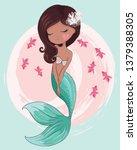 hawaiian mermaid with pink... | Shutterstock .eps vector #1379388305