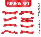 red ribbons set. vector design... | Shutterstock .eps vector #1379400842