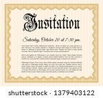 orange retro vintage invitation....   Shutterstock .eps vector #1379403122