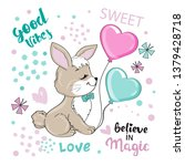 cute hare with balloons on a...   Shutterstock .eps vector #1379428718