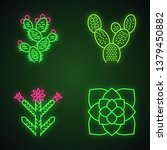 desert plants neon light icons... | Shutterstock .eps vector #1379450882