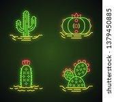 wild cactuses in ground neon... | Shutterstock .eps vector #1379450885