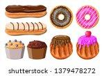 sweet desserts set. tasty food. ... | Shutterstock .eps vector #1379478272