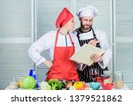 woman chef and man cooking food ...   Shutterstock . vector #1379521862