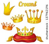 set of royal gold crowns with... | Shutterstock .eps vector #137962196