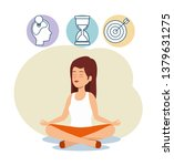 woman relaxation with hourglass ... | Shutterstock .eps vector #1379631275
