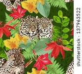 leopard and flowers | Shutterstock .eps vector #137963522