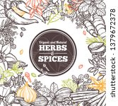 hand drawn vector herbs and... | Shutterstock .eps vector #1379672378