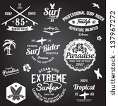 set of summer   surfing design  ... | Shutterstock .eps vector #137967272