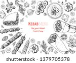 doner kebab and ingredients for ... | Shutterstock .eps vector #1379705378