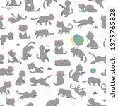 vector seamless pattern of cute ...   Shutterstock .eps vector #1379765828
