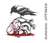 black raven biting bleeding...