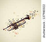 Music abstract background with trumpet and notes - stock vector