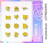 contact us icon set with lineal ...