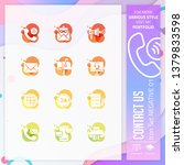 contact us icon set with glyph...