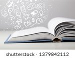 open book on old wooden table. | Shutterstock . vector #1379842112