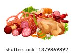 sausages  meat and smoked... | Shutterstock .eps vector #1379869892