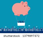 piggy bank hot air balloon with ... | Shutterstock .eps vector #1379897372