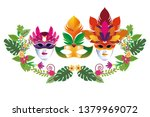 set of masks with feathers | Shutterstock .eps vector #1379969072