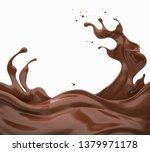 chocolate or cocoa splash...   Shutterstock . vector #1379971178