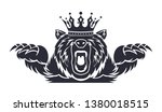 angry bear with a crown on his... | Shutterstock .eps vector #1380018515