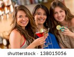 girls night out having drinks... | Shutterstock . vector #138015056