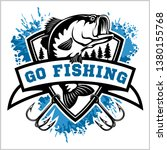 fishing logo. bass fish with... | Shutterstock .eps vector #1380155768