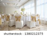 Decorated wedding banquet hall in classic style. Restaurant interior for banquet, wedding deco