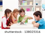 kids repeating and observing a... | Shutterstock . vector #138025316