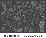 hand drawing fruits and... | Shutterstock .eps vector #1380279905