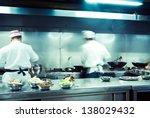 motion chefs of a restaurant... | Shutterstock . vector #138029432