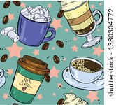 seamless pattern with coffee ... | Shutterstock .eps vector #1380304772