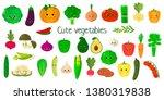 kawai cute vegetables and herbs ... | Shutterstock . vector #1380319838