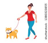 Stock vector the girl walks the dog on a leash breed shiba inu a character with a pet vector illustration 1380323855
