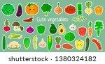 kawaii cute vegetables and... | Shutterstock . vector #1380324182