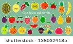 kawaii cute fruit and berries...   Shutterstock . vector #1380324185