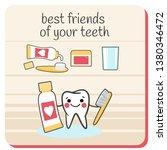 teeth best friends  toothbrush  ... | Shutterstock .eps vector #1380346472