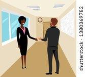 office work. woman boss hires a ... | Shutterstock .eps vector #1380369782