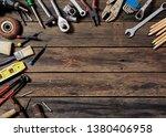 empty chalkboard with many... | Shutterstock . vector #1380406958