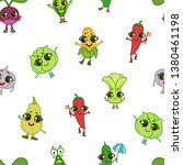 colorful funny vegetables... | Shutterstock .eps vector #1380461198
